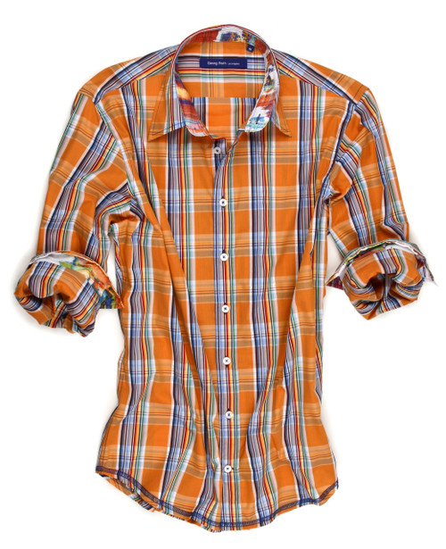 What to wear with khakis.... So soft and lightweight orange multi plaid with a sensational fabric in the collar and cuffs.  100% Cotton