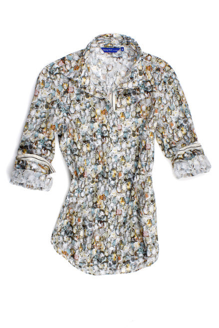 A jewel of a blouse! Liberty of london limited edition jewel print. Rich and sophisticated shades of creme and taupe with soft hues of aqua. Detailed with the Georg Roth signature of a beautiful soft gold sequin inder the collar stand. 100% Cotton