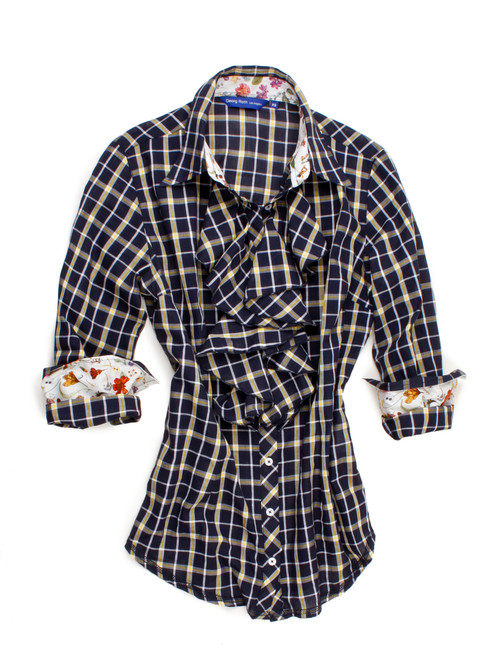 Navy & yellow plaid with ruffle.  Contrasted with a yellow Liberty of London floral print inside the collar and cuffs. Detailed with a navy ribbon inside the collar.  All seams are done to perfection with contrast stitching.  100% Cotton