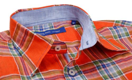 18d122c710d Light blue and white  Love this summer linen plaid in orange