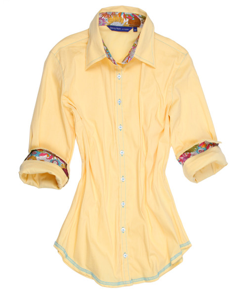 Yellow stretch with Liberty of London multicolor floral contrast in collar & cuffs. All seams with contrast stitching in turquoise.