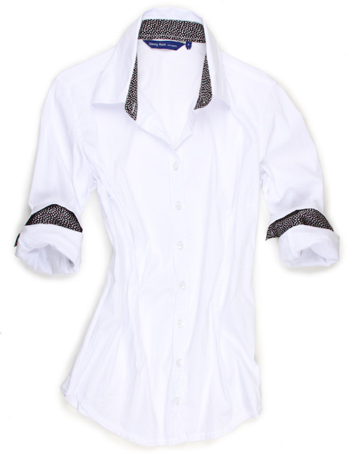 So light & comfy - this  white stretch long sleeve blouse is detailed with a black with white dot print contrast inside the collar stand & cuffs. All seams are finished with white stitching.  70% Cotton, 27% Polyamide, 3% Elastane