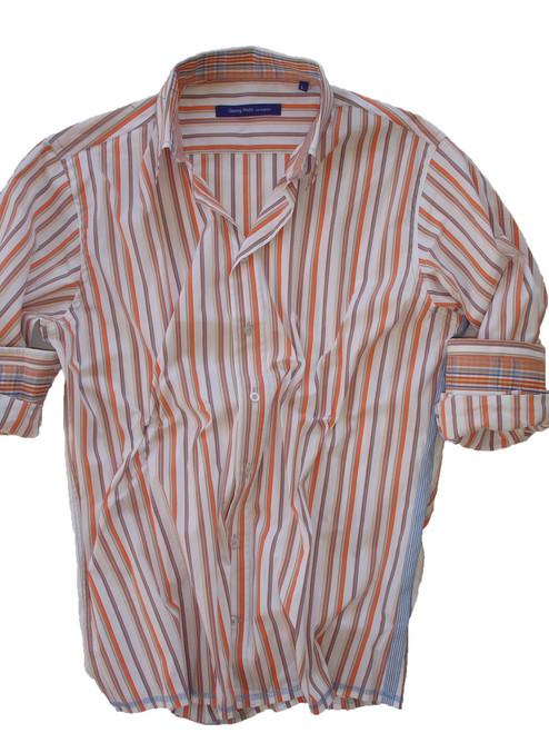 76%CO/20PA/4EA Orange/blue/white stripe shirt - terrific stretch
