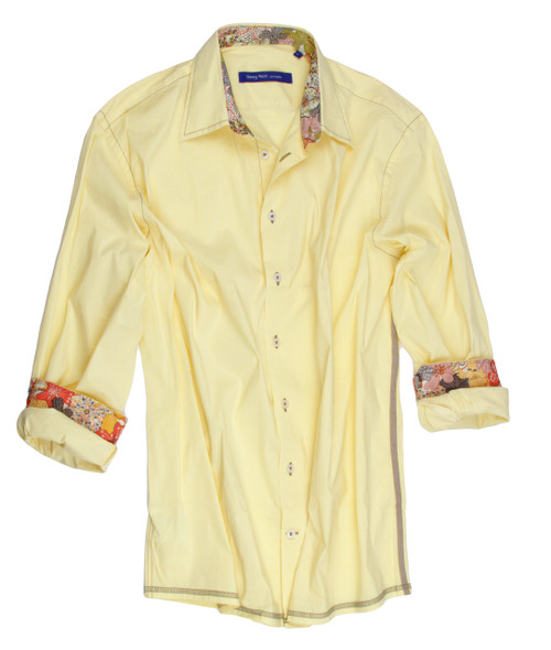 Mellow yellow Italian stretch that feels & looks like a million. Trimmed with a multi Liberty of London inside the collar stand & cuffs. A fun detail with a taupe ribbon detail on the side and a zig zag finish hem. Roll up your sleeves and  enjoy this very special Signature Georg Roth. 70%Cotton/30%Acrylic