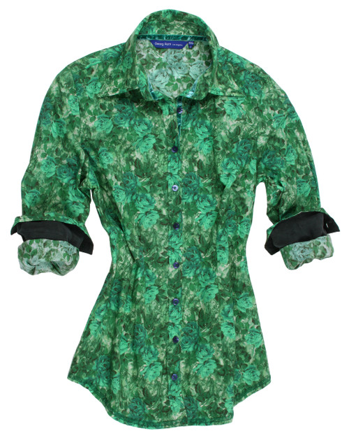 Gorgeous Greta making a statement this fall. Liberty of London, Green with envy eye catching shades of green rose pattern. The inner collar stand and cuffs are trimmed with a forest green solid contrast. Greta looks fantastic with Navy, Black or all the shades of the hunter greens shown this season. 100% Cotton