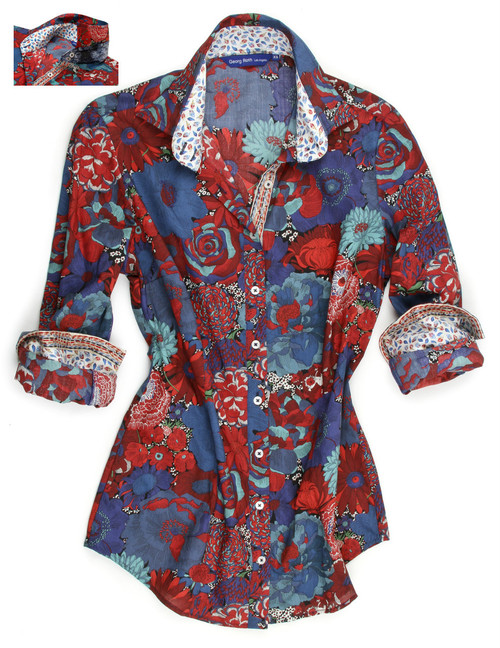Blues and Red's are a must this fall, as seen with our sensational print. Details galore with a subtle mini leaf print coordinating contrast inside the collar and cuffs. Ribbon detail inside the placket with the Georg Roth Los Angeles signature peek a boo sequin under the collar stand. 100% Cotton