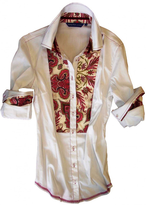 This super soft & comfy white long sleeve stretch blouse is detailed with a charming Liberty of London magenta paisley contrast inside the collar stand, cuffs and on bib. All seams are finished with contrast stitching in magenta.