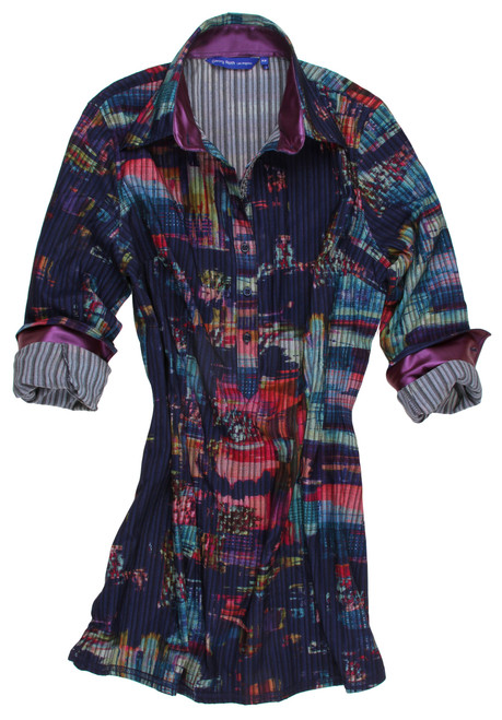 So Soft and ever so comfortable stretch tunic. Elena is bright and vivid with multi color abstract on midnight blue, detailed with a soft satin eggplant inside the collar stand and cuffs. Finishing touches include a rich ribbon trim inside the front placket. Cotton & Viscose