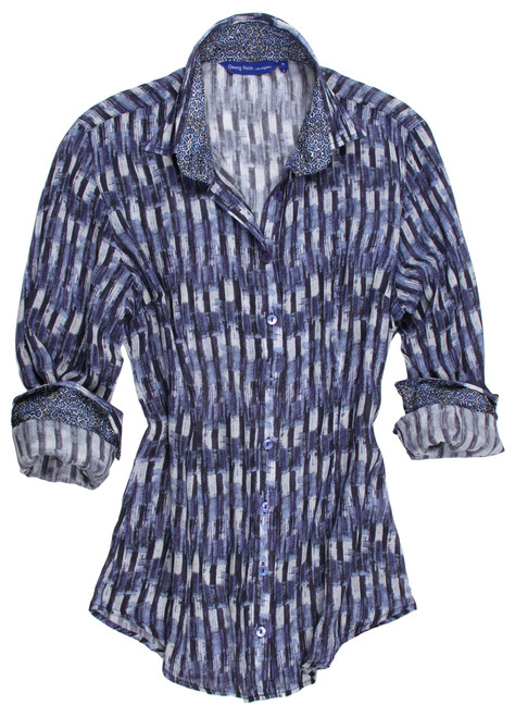 Super soft feels like cashmere!  Blues are trending this fall. This beautiful rich print will dress up your denims. Detailed to perfection with a Blue peek a boo sequin trim under the collar stand. The inner collar stand and cuffs are finished with a blue and crème mini motif coordinating with the main fabric. Fabric is designed and manufactured in Austria. 85% VISCOSE 15% LIGHT WOOL