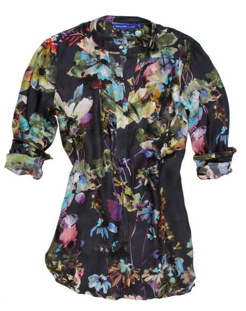 Dreamy silk! Elegant and colorful silk tunic with banded collar. Drapes a bit at the waistline.  100% Silk