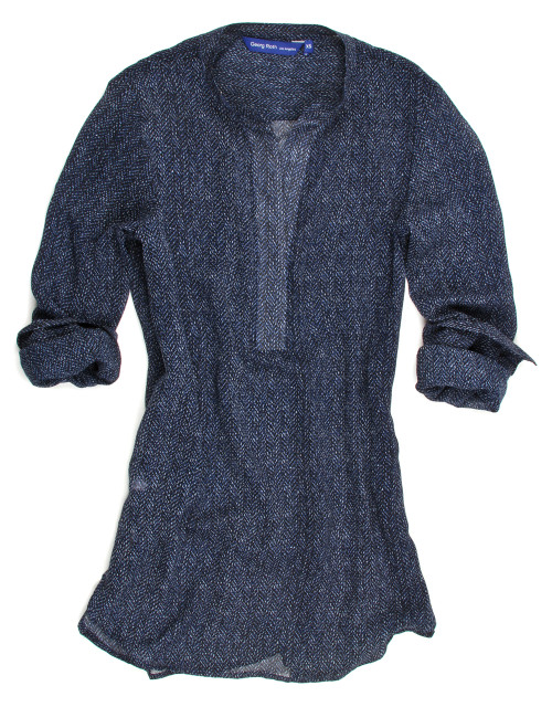 For work, dress or play! Elegant and Soft this pop over tunic drapes beautifully with a finger tip length. Rich shades of blues mini pattern on midnight. Works sensational for a night out feeling sexy with your favorite black bra or lace cami.   For the elegant flowing look we recommend sizing up.   Viscose Blend