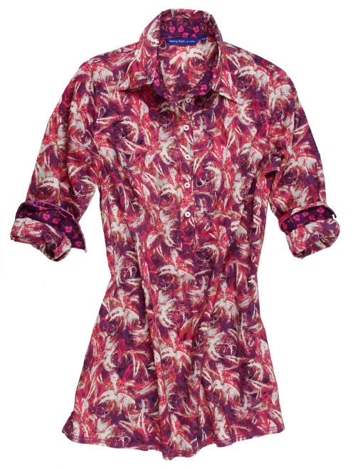 Gigi is the life of the party! A vibrant print in magenta, fuchsia and pink with creme. Tunic model is slightly tapered at the waist with a finger tip length. Trimmed with a beautiful Liberty of London mini rose pattern inside the collar stand and cuffs. 100% Cotton