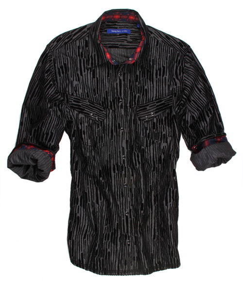 Casual or dress it up! Grey with deep black velvet overlay fantasy pattern. Black snaps with 2 diagonal pockets. Just enough of a pop of color with a rich and masculine black and red woven cotton pattern inside the collar stand and cuffs. All seams stitched in black with a zig zag finish hem.