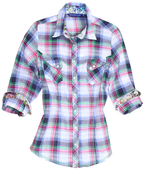 "Like a flourishing garden of color you will look like a painting in this luscious soft toned plaid shirt.  Lavenders, purple and pink on a white ground adorned with a companion small print on the collar stand and cuffs makes this a real ""eye catcher .  Two pockets, each with two mother of pearl snaps enhance this very original and high style blouse. The fabric is our imported European 100% cotton adding quality and comfort to this already chic number."