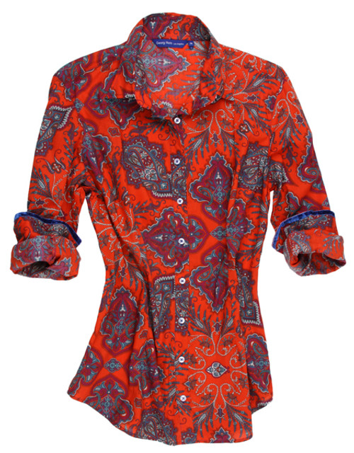 A keepsake for dressing up or play, anytime, anywhere! A brilliant paisley print in a vibrant flame orange red with blue. Detailed to perfection with our peek a boo blue sequin under the collar stand.  100% Cotton