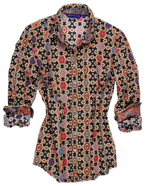 100% Cotton  Liberty of London print in vibrant shades of multi color on charcoal. Done to perfection with a contrast paisley inside the collar stand and cuffs. Slightly smaller collar.