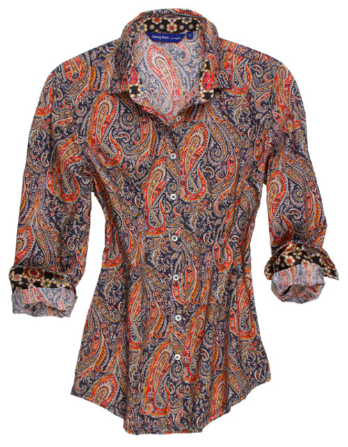 Everyone loves paisley and this is no exception.  Navy, orange, mustard and a touch of rust.  It doesn't get much better than this.  These colors are magnificent together and made a dynamic statement.  The inside collar stand roll up sleeves are in a coordinating small print of complementary tones to further enhance the great look of this blouse.  Wear it anywhere day or night.  Dress it up or down and wear it all year long.  Don't let it get away!   100% Cotton