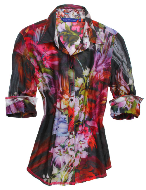 Feel like your in Paradise with this sophisticated and elegant vibrant digital inkjet print. Classic fit with 4 button cuffs. Light and airy cotton silk voile.  76 Cotton 24 Silk Voile