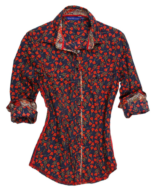 100% Cotton Fun and ever so versatile! Liberty of London mini floral in Red and Navy. Paisley print inside collar and cuffs with piping on the placket. 2 Diagnal pockets with Navy snaps.