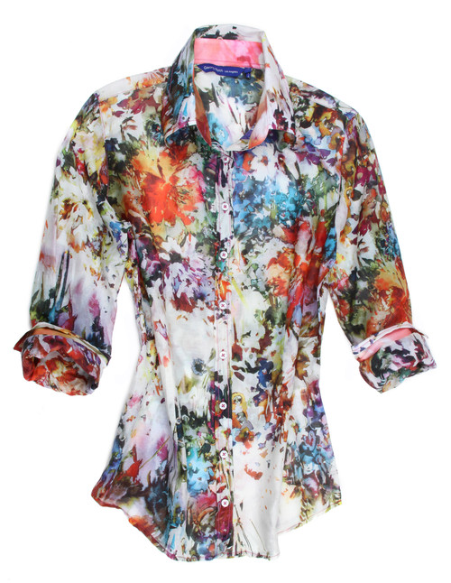 It's spring and flowers are all in bloom.  You will feel so happy, carefree and beautiful wearing this lovely colorful floral.  Just about every hue of the rainbow to make it so easy to wear.  Everything goes!  The fabric is a voile cotton for cool and comfort and the collar stand and roll up cuffs are in a contrast to make this blouse a stunning example of the detail we pride ourselves with. 76 Cotton / 24 Silk Women Blouse