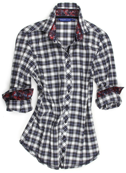 So soft & light plaid flannel in blue and midnight.
