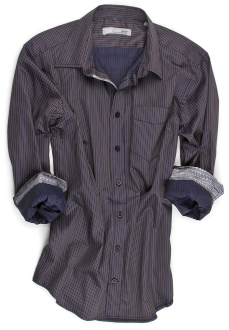 "You will be ""dressed to the nines"" when you wear this stunning high-fashion date night shirt.  This navy, brown and gray pin stripe is full of embellishments to detail and compliment the style.  There is one pocket that is accentuated by a thin navy welt,  and now get a load of the collar.  It is a one button down collar under a collar that boasts of originality.........The companion pattern is a light plaid that enhances the underneath collar and roll up sleeves elegantly.  And that is not all!   The inside placket is also done in the handsome gray, brown and navy plaid making this shirt nothing less than quite an eye catcher. 100% imported European cotton"