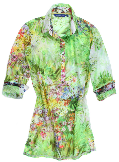 76% Cotton / 24% Silk Slightly fitted at the waist, finger tip length. Gracious and gorgeous shades of green floral cotton silk voile, perfect for any garden party. Light and airy silk multi floral inside the collar stand and cuffs. Finished with a petite green and pink ribbon trim inside the collar stand.