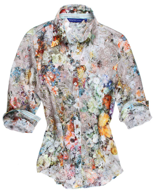 You will feel extravagantly lovely in this luxurious silk blouse.  It is so elegant in subtle hues  of every color of the rainbow.  Beautifully tailored and truly a shirt to wear proudly anywhere you go.100% SILK