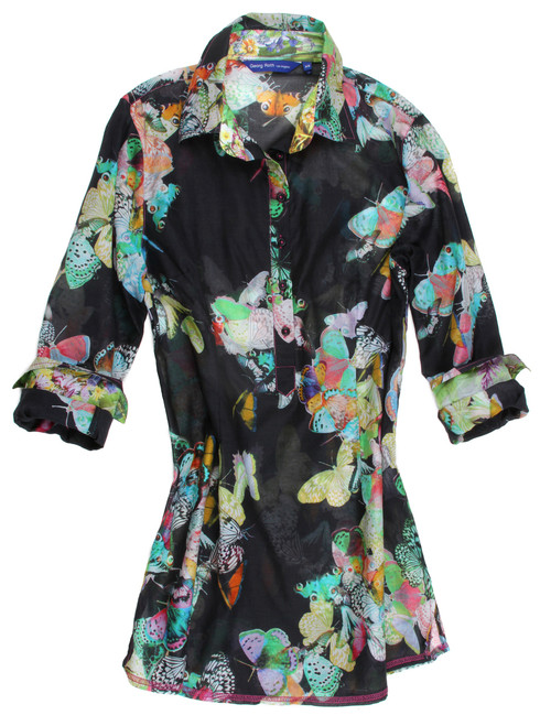 Butterflies are free to fly, and how we define that on the stunning Cotton Silk voile. Soft and elegant with a multi color coordinating contrast inside the collar stand and cuffs on this beautiful tunic.