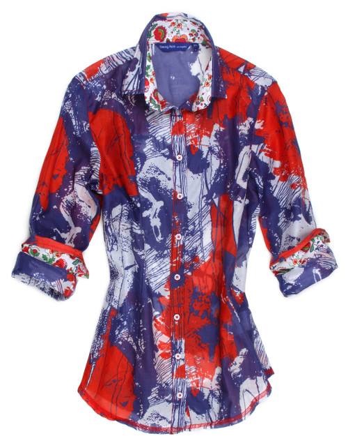 You will be right in style for the summer holidays with this gorgeous and vibrant red, white and blue dazzling print.  The inside collar and roll up cuffs are a companion pattern of a small pint and the hem line is finished off in a red zig-zag stitching.  You will be the center of attraction when you wear this anywhere day or night! 100% Cotton