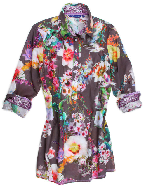 Every little breeze seems to whispers Louise. As you swing and sway with this springtime bouquet. Brilliant colors in every shade come to life on a silver grey background with a purple and white contrast fabric inside the collar stand and cuffs.  Signature fit, slightly tailored at the waist will keep you comfortable all through the day! 100% Cotton