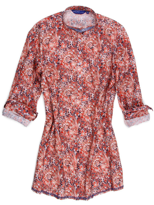 "How great is this?  Dress up any pair of jeans with this ""oh so good looking"" tunic of 100% cotton, The blue sequin mandarin collar is stunning with this red, white and navy fantasy print and to add another special touch the seams are finished in navy stitching with a navy zig-zag hem.  This stylish will take you anywhere and everywhere."