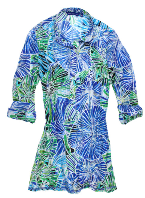 Just like the feeling of a springtime breeze you will look cool and refreshing in the very sophisticated fingertip length tunic.  The blues and greens in this lovely fabric are joined together with the blue sequin trim of the mandarin collar. This tunic is a high-style beauty for any wardrobe. Tunic 100% Poly