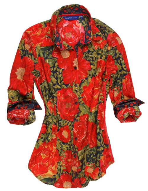 If you like red, you will love, love, love this dramatic floral print.  Made of 100% cotton it is a beauty that will look stunning with your favorite jeans.  The collar stand and roll up cuffs are a contrast to make this number a work of art...........or should we say a work of Georg! Detailed with our signature blue sequin under the collar stand. 100% Cotton