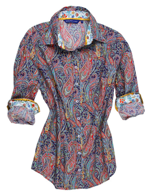 Who doesn't love a paisley print?  Chic, stylish and always great anywhere, anytime.  Navy, Red and light blue with a touch of mustard and 100% cotton makes this a beauty for all year long.  The collar stand and roll up sleeves are tastefully trimmed in a light small multi floral of contrasting colors.  This is it for a very sophisticated look! Classic fit slightly tapered