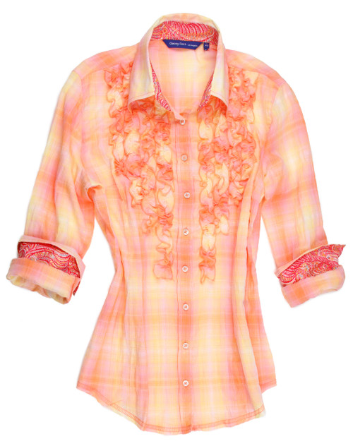 Fun with plaid! Don't ruffle your feathers...Ruffle yourself in this light plaid in shades of yellow, melon & pink. Contrast fabric inside the collar stand and cuffs of an elegant liberty of london paisley pattern.