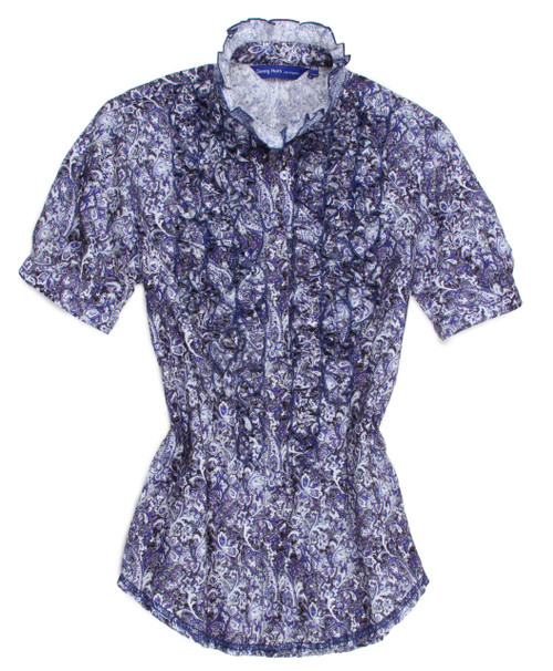 Lucy is soft and feminine in this stunning blue and purple print detailed with ruffle trim. Finished with our signature sequin trim on the banded collar stand.