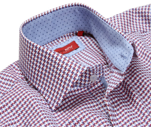 Fabulous is the best word to describe this 100% woven imported cotton.  You will absolutely love this stunning red and french blue small hounds-tooth plaid.  To complete and complement this total look, the inside collar and roll up cuffs are a blue on blue mini dot.  Don't let this one get away!
