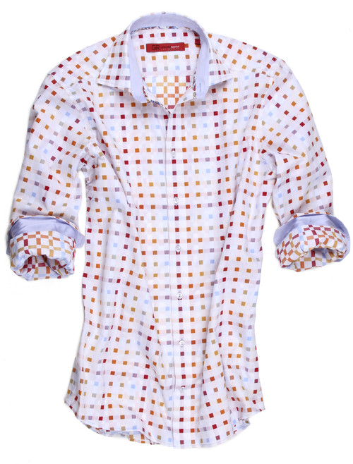 BIG & TALL - 100% COTTON - LONG SLEEVES  SWISS COTTON YARN DYE MINI SQUARES OF RED, ORANGE , YELLOW BLUE ON WHITE SOFT SHADE OF CHAMBRAY BLUE INSIDE THE COLLAR STAND AND CUFFS WITH A MUTI COORDINATING TRIM INSIDE THE COLLAR AND INSIDE THE FRONT PLACKET