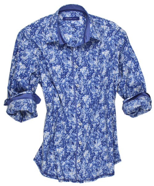 Enjoy the comfort of this Liberty of London striking print in a fabulous shade of royal. Style and comfort go hand in hand with a relaxed fit of this handsome shirt. Detailed with a micro mini royal and white inside the collar stand and cuffs along with a piping detail on the front placket. Finishing touch of an hombre embellishment inside the collar stand. 100% Cotton Long-Sleeves-Shirt Liberty of London Print Big & Tall