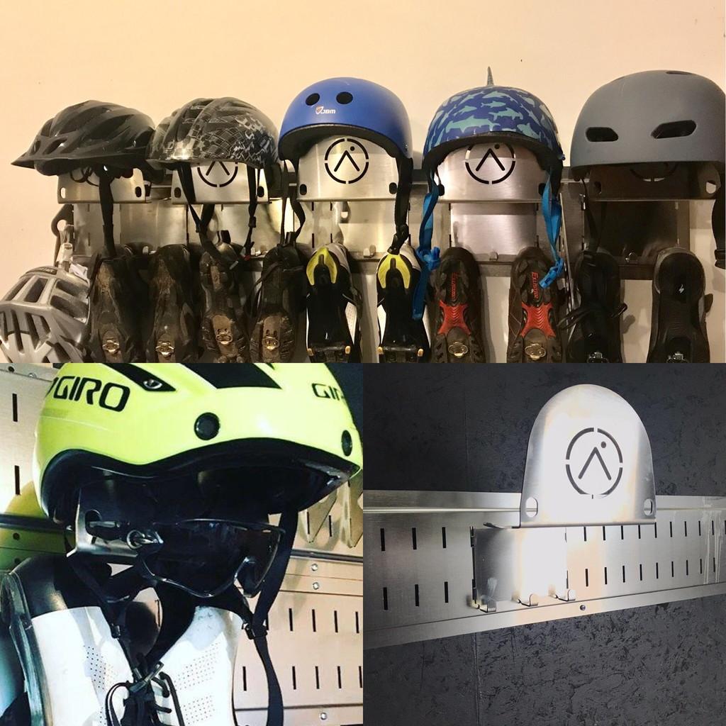 Cycling Gear Storage system.  Bike helmet storage for your garage bicycle gear organization system.