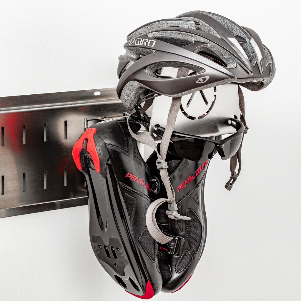 "Helmet, cycling shoes, glasses, gloves, coat/kit all in one spot.  Get out the door without asking anyone ""have you seen my...."""