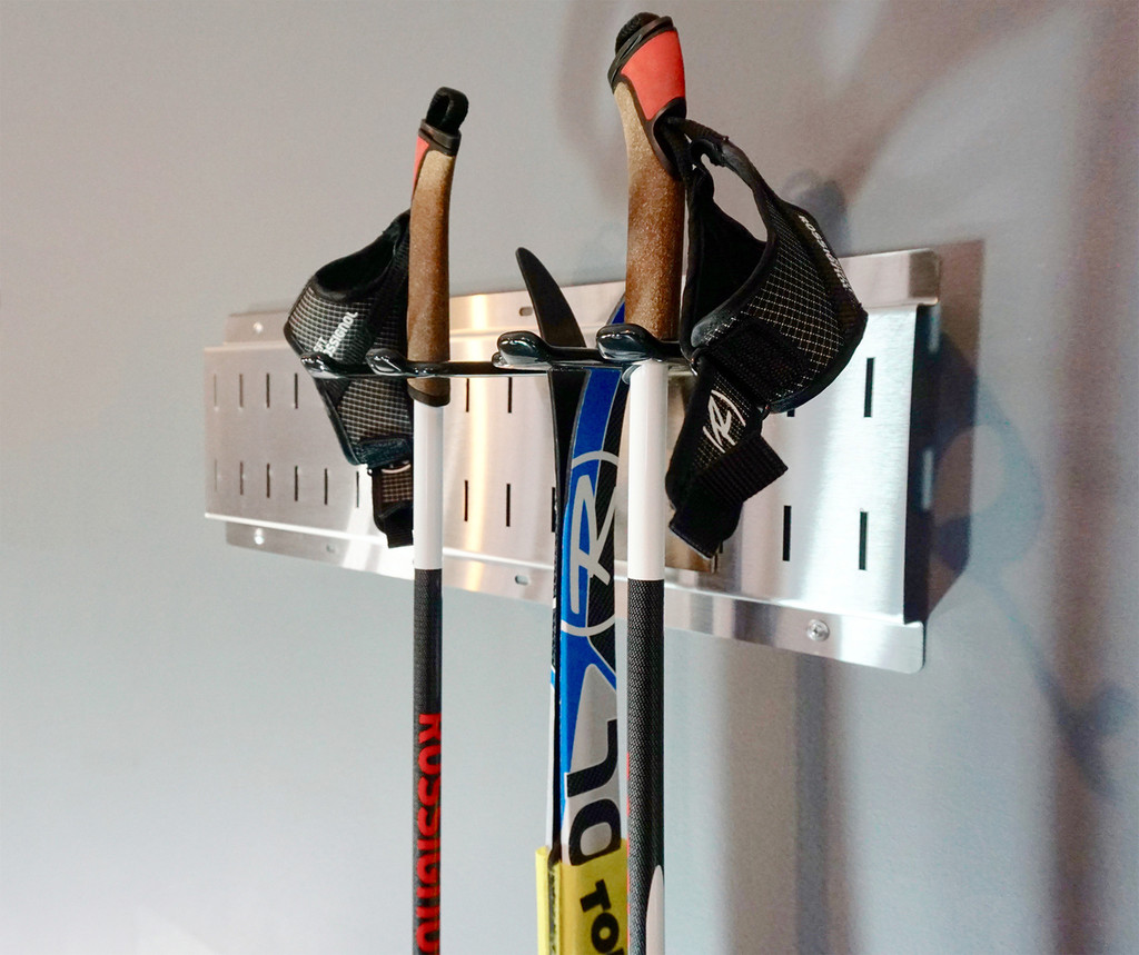Vertical Wall mount ski and pole storage