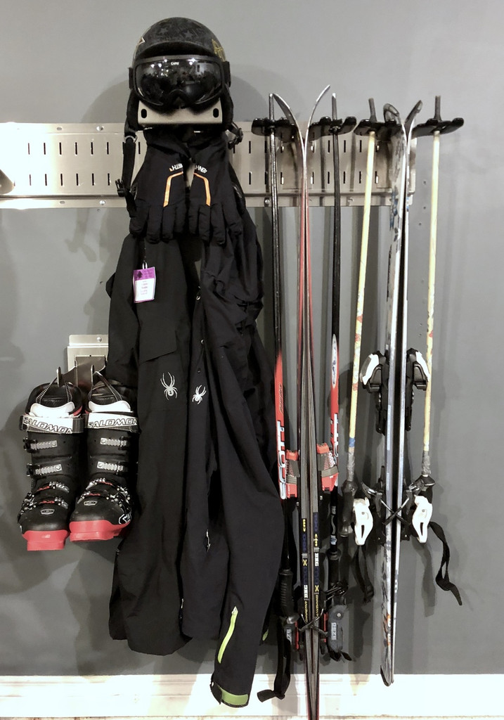 Store your skis, poles, and gear with our gear organizer system for skis and bikes and bicycle gear and ski gear storage.