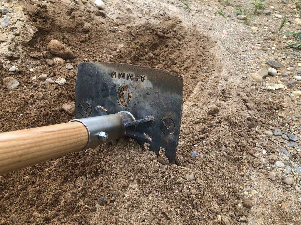 Build better MTB Trails with this heavy duty bike trail construction tool.  This trail hoe is designed and build for the rigors of serious bike trail building.