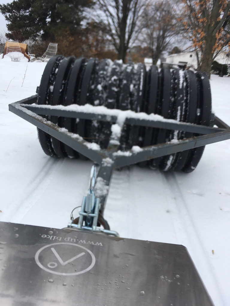 SnoScoot groomer hitch for fat bike trail grooming