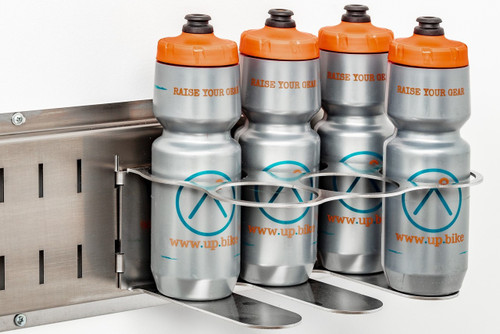 Water bottle organizer for the whole crew.  Find them, fill them, and ride.