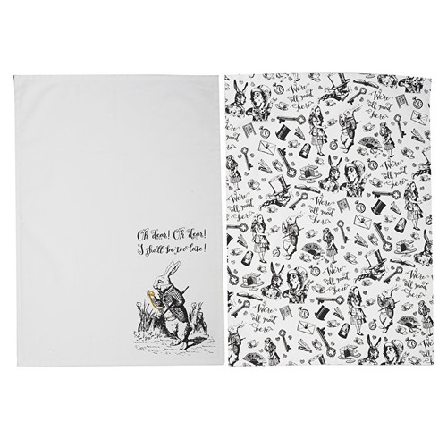 Alice in Wonderland tea towel set of 2.