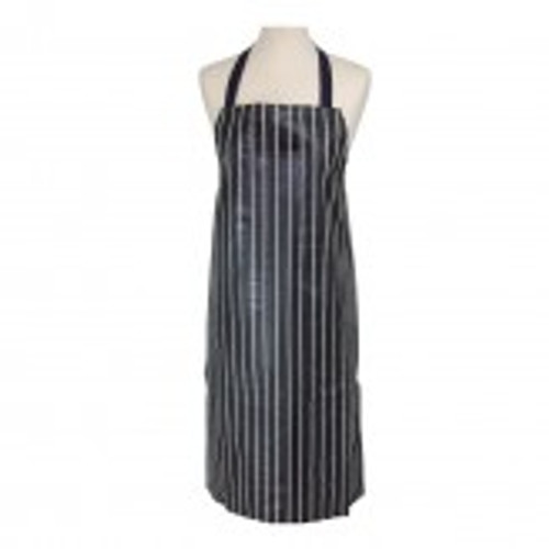 PVC navy butchers stripe apron