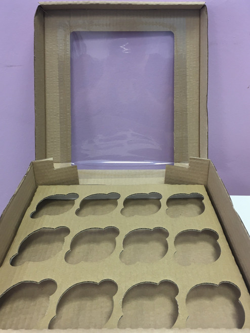 Brown corrugated 12 hole cupcake box with window